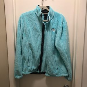 North face teal fuzzy zip up jacket